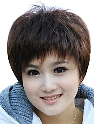 cheap -foreign trade old wig sell like hot cakes dark brown short hair wigs