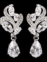 Elegant Silver Alloy With Cubic Zirconia  Wedding Earrings
