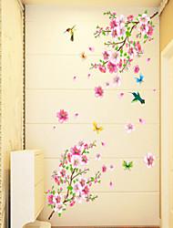 Недорогие -Цветы Мультипликация Наклейки Простые наклейки Декоративные наклейки на стены, ПВХ Украшение дома Наклейка на стену Стена