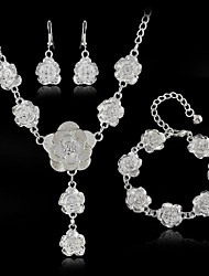 Silver Plated Rose Flower Jewelry Set Necklace Earrings Bracelet Set