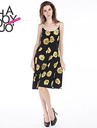 haoduoyi® Women's Sunflower Print Strap Dress