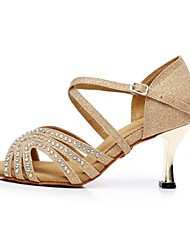 cheap -Latin Women's Sandals Flocking Stiletto Heel Dance Shoes Gold