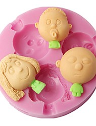 baratos -quatro c 3d decoração do bebê molde menino e silicone menina cor-de-rosa do molde
