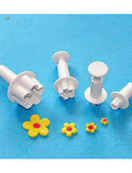 FOUR-C Blossom Sugarcraft Plunger Cutters,Plastic Cake Design Cutters,Classic Cake Decorating Tools