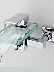 economico -Moderno Vasca e doccia Cascata Valvola in ottone Due Una manopola Due fori Cromo , Rubinetto doccia Rubinetto vasca