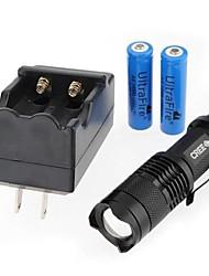 LS301 Lanternas LED LED 300 lm Modo Cree XR-E Q5 Mini Foco Ajustável Resistente ao Impacto Superfície Antiderrapante Recarregável