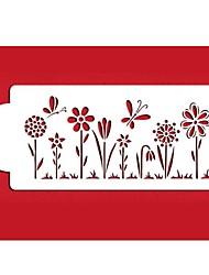 Недорогие -четыре с цветок трафарет для украшения торта сторона декора белого цвета ST-304