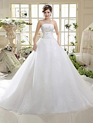 cheap -A-Line Strapless Cathedral Train Tulle Wedding Dress with Sequin Bow by QQC Bridal