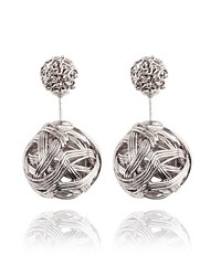 Hollow Spherical Metal Wire Wound Fashion Earrings Elegant Style