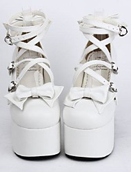 cheap -Lolita Shoes Sweet Lolita Lace-up High Heel Shoes Bowknot 12.5 CM White For Women PU Leather/Polyurethane Leather