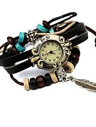 cheap -Women's Hot Leather Beaded Leaf Bracelet Watch Cool Watches Unique Watches