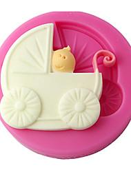 baratos -quatro c molde fondant carrinho de bebê molde queque silicone, bolo decoração, ferramentas fondant de decoração fornece cor rosa
