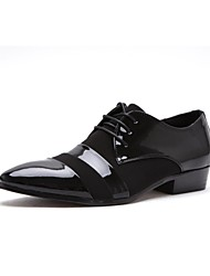 cheap -Men's Shoes Leather Spring Fall Lace-up for Wedding Casual Office & Career Party & Evening Black