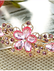 Rhinestone Alloy Hair Clip,Vintage Cute Party Work Casual All Seasons Purple Green Blue Pink Camel