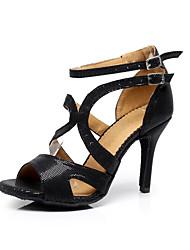 "Women's Latin Salsa Ballroom Leatherette Sandal Buckle Stiletto Heel 3"" - 3 3/4"" Customizable"