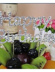 baratos -Decorações de Bolo Tema Clássico cromada Aniversário / Chá de Bébe com Pedrarias / Laço 1 pcs Bolsa PVS