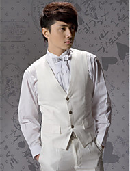 Ivory Cotton Tailored Fit Suit Vest