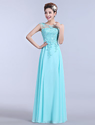 A-Line Illusion Neckline Floor Length Chiffon Formal Evening Dress with Beading Appliques Embroidery by Yaying
