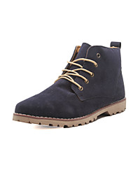 """cheap -Men's Shoes Leather Winter Fall Combat Boots Comfort Boots 2""""-4""""(Approx.5.08cm-10.16cm) Booties/Ankle Boots Lace-up for Casual Black Blue"""