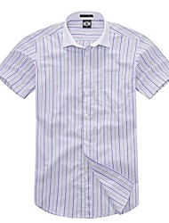 cheap -U&Shark Casual&Fashion Men's  Short Sleeve   White Collar Shirt with  Green and   Blue Stripes  /DXBL14