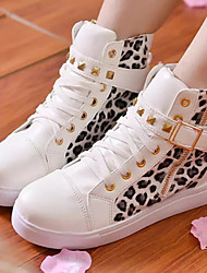 cheap -Women's Shoes Patent Leather Leopard Flat Heel Round Toe Rivet Fashion Sneakers Casual Black/White
