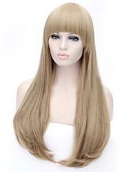 billige -Syntetiske parykker Lige Assymetrisk frisure Syntetisk hår Natural Hairline Brun Paryk Dame Lang Lågløs Medium Auburn