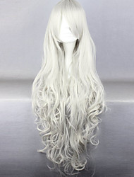 cheap -Synthetic Wig Curly / Deep Wave Asymmetrical Haircut Synthetic Hair Natural Hairline White Wig Women's Long Cosplay Wig / Halloween Wig