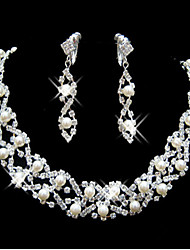 cheap -Jewelry Set - Pearl, Cubic Zirconia, Silver Plated Party, Fashion, Bridal Include White For Wedding / Party / Special Occasion / Earrings / Necklace