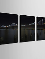 cheap -E-HOME® Stretched LED Canvas Print Art Bridge LED Flashing Optical Fiber Print Set of 3