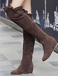cheap -Women's Shoes Suede Covered Low Heel Elevator Over Knee Boots With Cutout Embellishment More Color Available