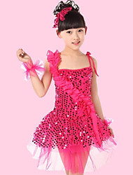 cheap -Shall We Latin Dance Performance Dresses Children Polyester/Tulle Sequins Flowers Dress(More Colors) Kids Dance Costumes