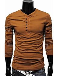 economico -MEN - T-shirt - Informale Rotondo - Maniche lunghe Cotone organicp