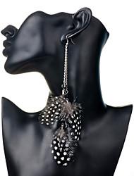 Žene Viseće naušnice Kristal Boemski stil Kristal Perje Legura Kvadrat Geometric Shape Perje Jewelry Party Dnevno Kauzalni Nakit odjeće