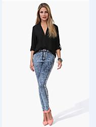 baratos -Mulheres Blusa Moda de Rua Sólido