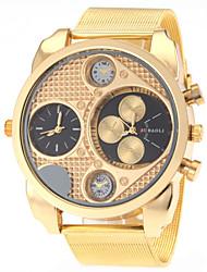 baratos -JUBAOLI Homens Relógio Militar Dois Fusos Horários Aço Inoxidável Banda Amuleto / Fashion Dourada / SSUO LR626