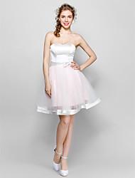 Vestido de baile, coração, joelho, comprimento, tul, estiramento, vestido de dama de honra com arco (s) sash / ribbon