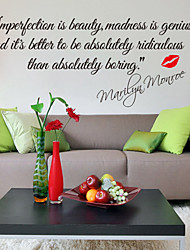 cheap -Wall Stickers Wall Decals, Style Impersonation Is Beauty English Words & Monroe Quotes PVC Wall Stickers
