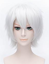 Parrucche Cosplay Tutor Hitman Reborn! Byakuran Argento Corto Anime Parrucche Cosplay 30 CM Tessuno resistente a calore Uomo / Donna