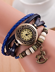 cheap -Original High Quality Women Genuine Leather Vintage Watches Bracelet Wristwatches  Horse Pendant Relogio Feminino