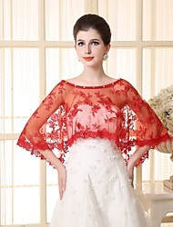 cheap -Sleeveless Lace Tulle Wedding Party Evening Wedding  Wraps With Appliques Lace Capelets