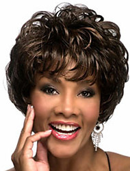 cheap -The New Middle-Aged Black  Mixed Color Brown Short Hair Wig