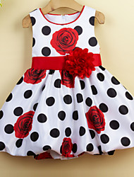 Girl's Daily Holiday School Polka Dot Floral Dress