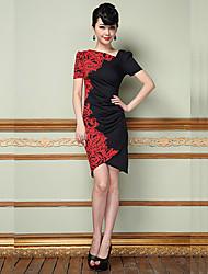 Moulante Robe Femme Soirée Grandes Tailles Chic de Rue,Fleur Col en V Au dessus du genou Manches Courtes Polyester Eté Taille Normale