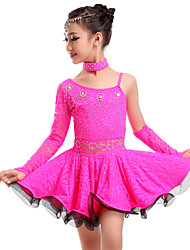 cheap -Latin Dance Dresses Women's Training / Performance Lace Lace / Crystals / Rhinestones Natural Dress / Gloves / Neckwear