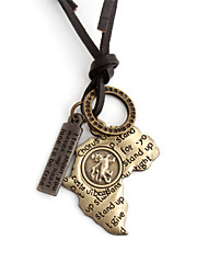 Vilam® Leather Africa Map Leather Adjustable Length Pendant Necklaces Daily/Sports 1pc