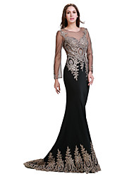cheap -Mermaid / Trumpet Illusion Neckline Floor Length Spandex Jersey Formal Evening Dress with Beading Crystal Detailing by Luoge