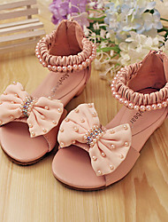 cheap -Girls' Shoes Dress Low Heel Comfort Peep Toe Leather Sandals More Colors available