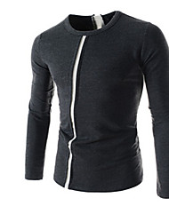 preiswerte -Vintage/Informell/Party/Business Langarm - MEN - T-Shirts ( Baumwolle/Kunstseide )