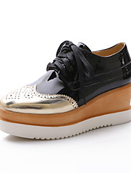 cheap -Women's Shoes Wedge Heel Round Toe Oxfords with Lace-up Casual More Colors available