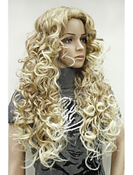 cheap -Sexy Strawberry Blonde Mix Highlight Tip Curly Long Synthetic Hair Full Women's Daily Wig